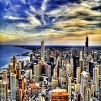 Панорамный вид на небоскребы Нью-йорка