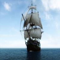 парусный фрегат в море отреставрированный